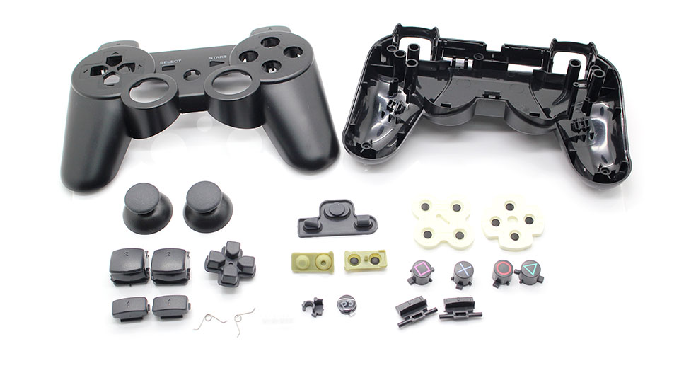 Image of Full Housing Shell Case with Buttons for PS3 Wireless Controller (Black)