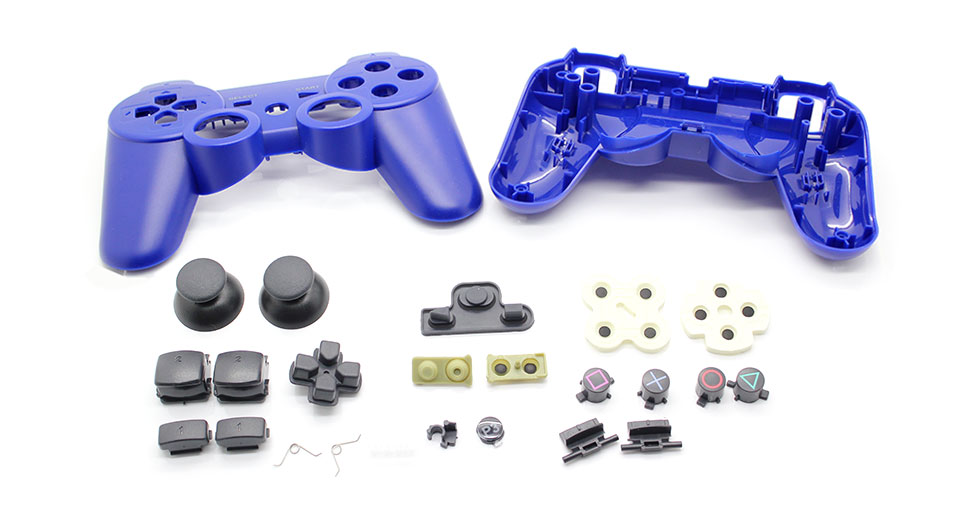 Image of Full Housing Shell Case with Buttons for PS3 Wireless Controller (Blue)