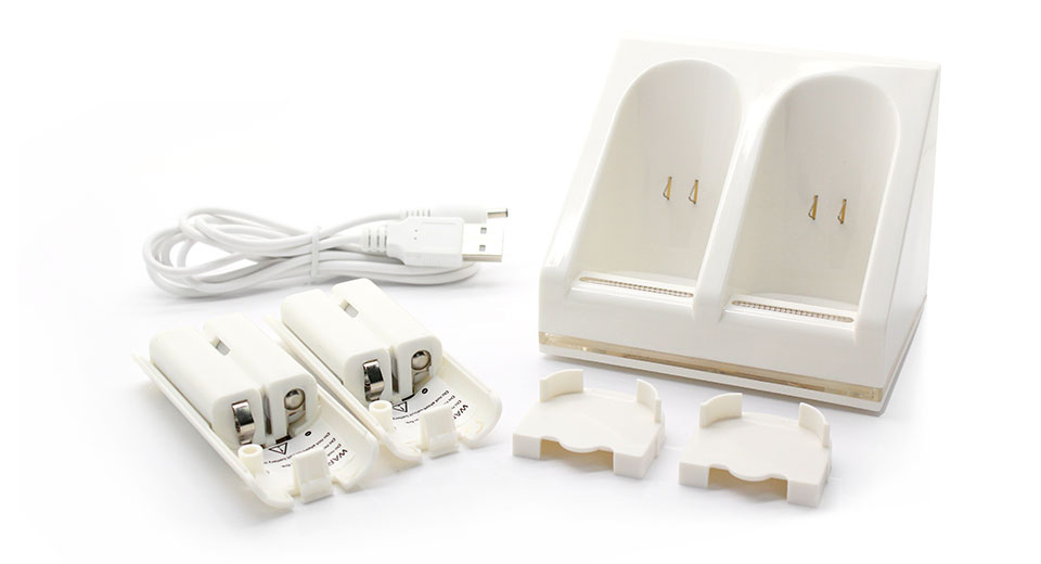 2 x 2800mAh Battery Packs with Dual Controller USB Charging Station for Wii