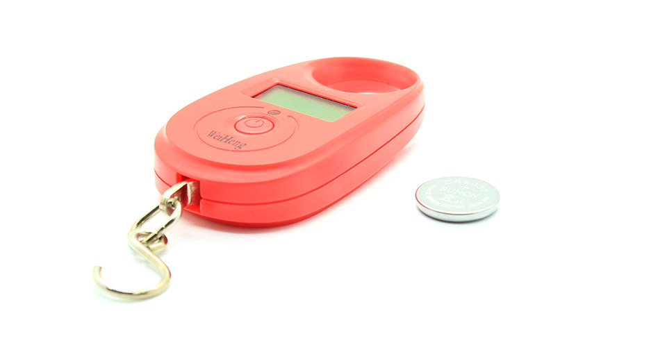 """Image of 1.1"""" LCD Portable Weighing Hook Digital Scale - Red (25kg Max)"""