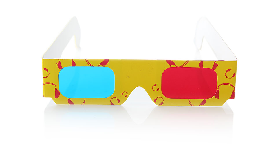 Disposable Anaglyphic Red + Cyan Paper 3D Glasses