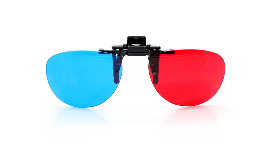 Clip-On Resin Lens Anaglyphic Red + Blue 3D Glasses