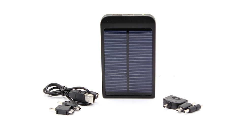 Solar Powered 2600mAh Mobile Power Battery w/Charger Adapters/Cable