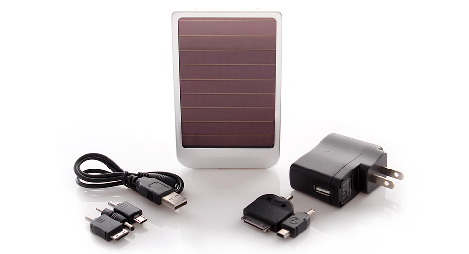 Solar Powered 2600mAh Mobile Power Battery w/ AC Charger/Adapters