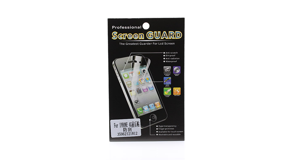 Scratch-resistant Crystal Clear Front + Back Screen Protector Set for iPhone 4/4S