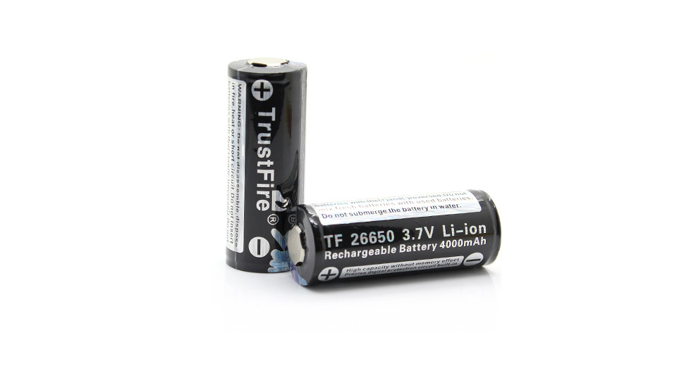 TrustFire 26650 3.7V 4000mAh Protected Rechargeable Li-ion Batteries (2-Pack) TF26650, 4000mAh, 2-Pack,
