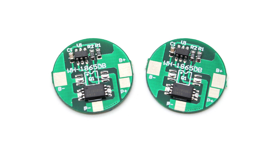 WH-18650B 2A Protective Circuit Board for 18650 Rechargeable Li-Ion Batteries (2-Pack)