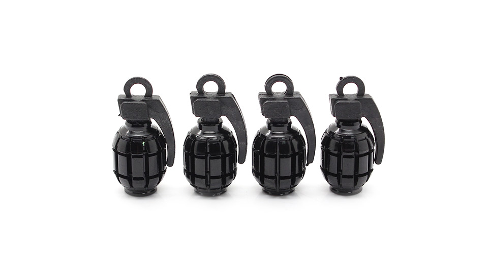 Universal Replacement Grenade Shaped Car Tire Valve Air Caps (4-Piece Set)