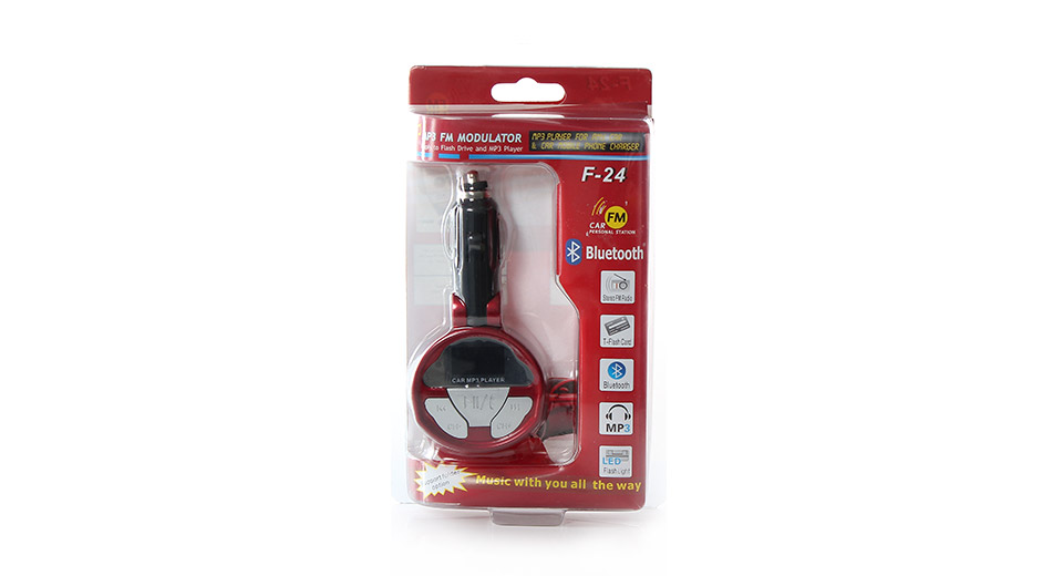F-24 Car MP3 Player FM Transmitter with SD Slot and IR Remote