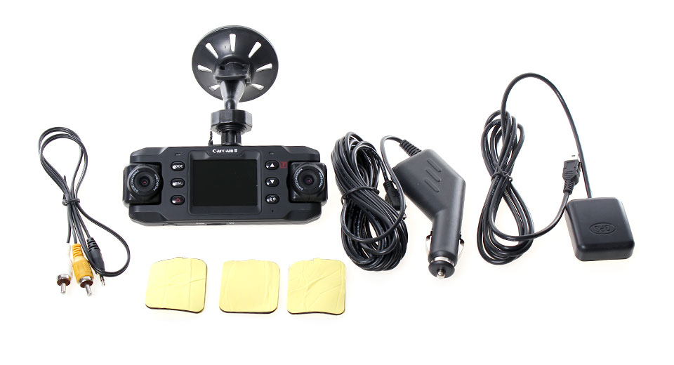 Dual 1.0MP Lens Wide Angle Car DVR Camcorder w/ TF / AV-Out / GPS Port