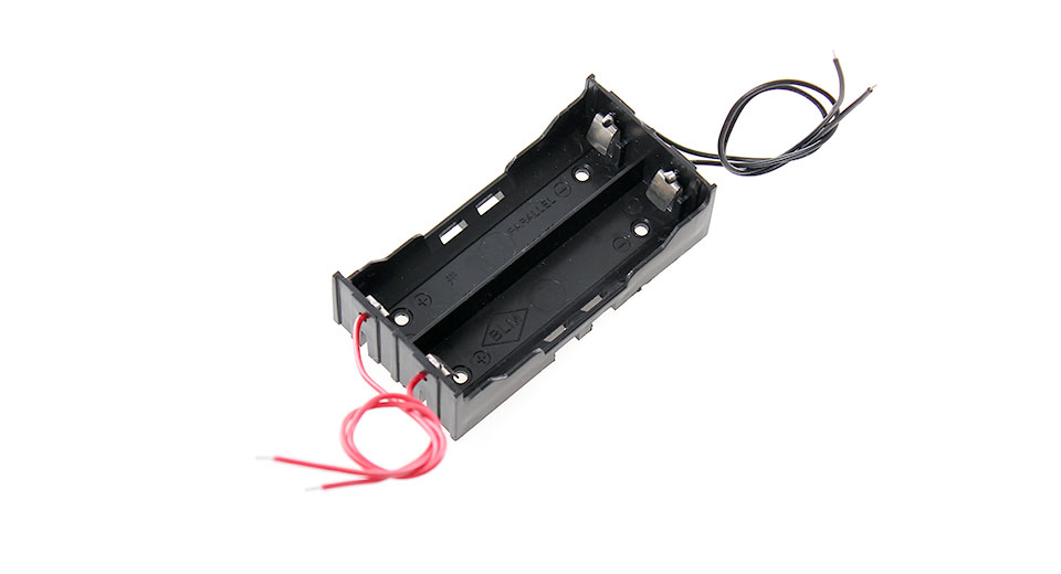 2*18650 Serial/Parallel Battery Holder Case w/Lead Wires. fasttech.
