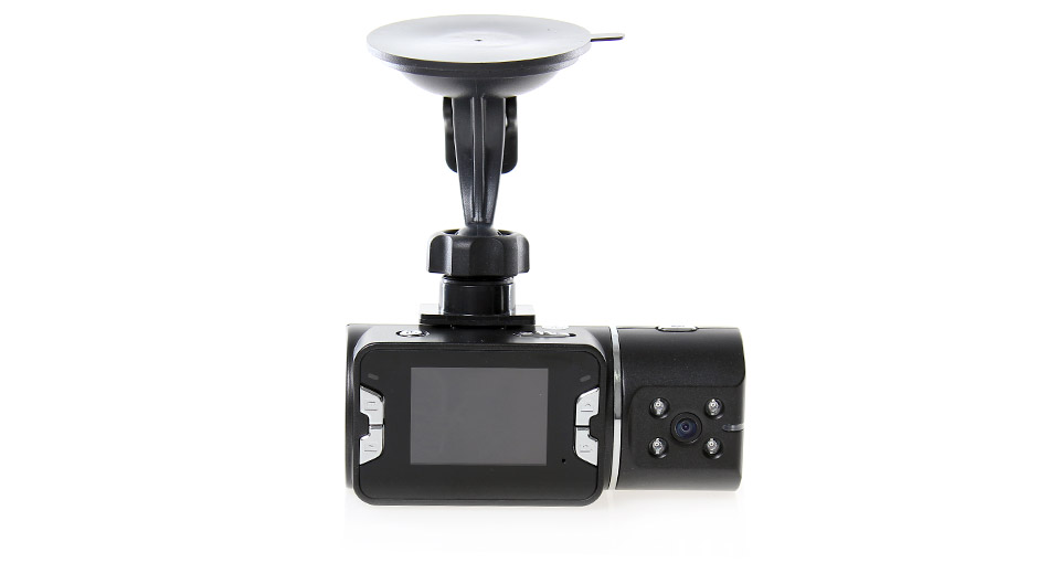 HD720 CMOS Dual Lens Wide Angle Car DVR Camcorder w/ IR Night Vision/ TF Slot/ Player (2.0 TFT LCD)