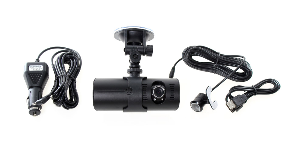 R300L 2.7 LTPS 300KP Wide Angle 4-IR Night Vision Dual-Lens Car DVR Camcorder
