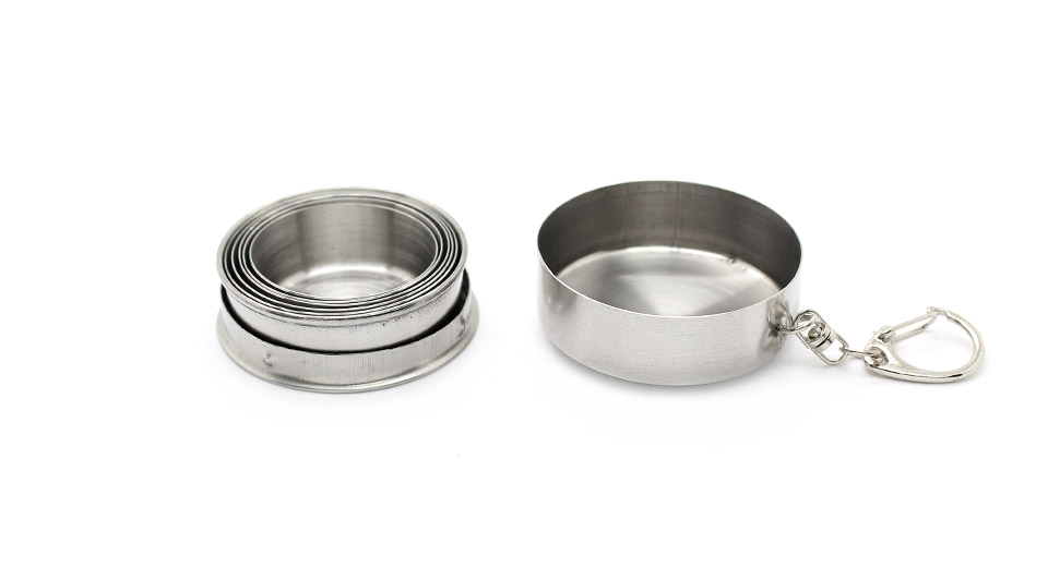 Portable 6-Fold Stainless Steel Retractable Cup with Keychain (Small / 75ml)