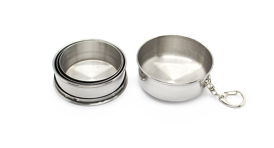 Portable 4-Fold Stainless Steel Retractable Cup with Keychain (Large / 240ml)