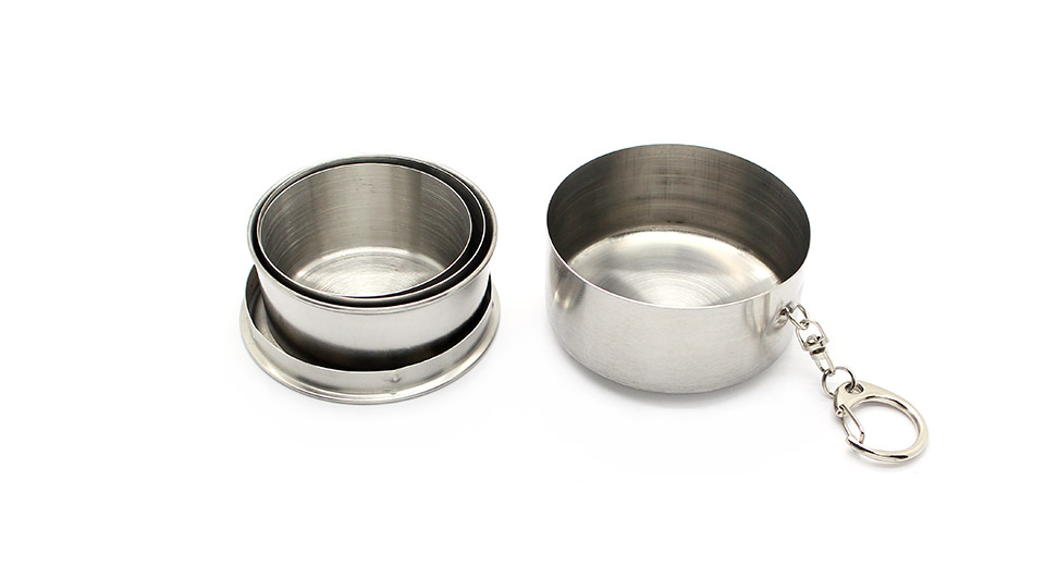 Portable 3-Fold Stainless Steel Retractable Cup with Keychain (Medium / 140ml)