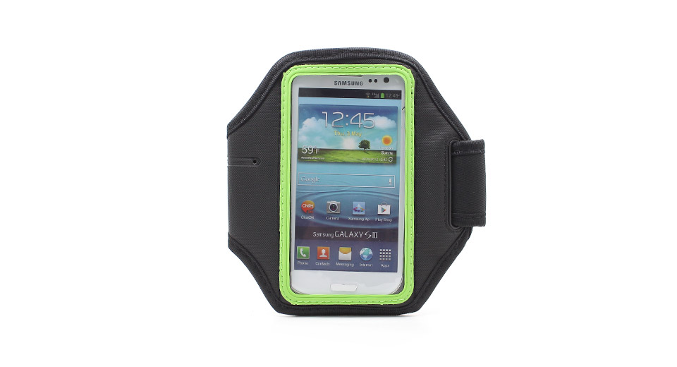 Image of Sports Gym Nylon Arm Band Case for Samsung Galaxy S4 / i9500 (Black + Green)