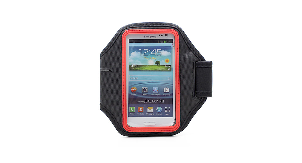 Image of Sports Gym Nylon Arm Band Case for Samsung Galaxy S4 / i9500 (Black + Red)