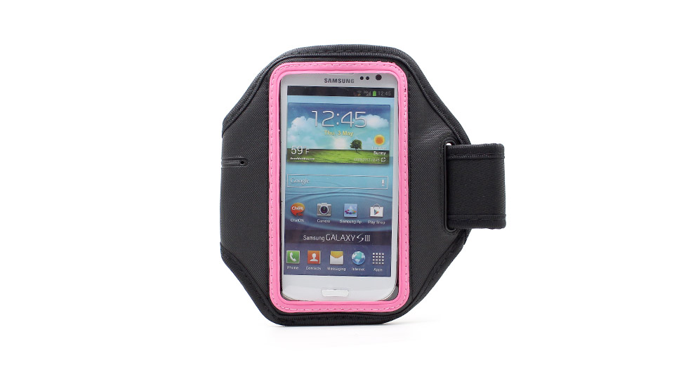 Sports Gym Nylon Arm Band Case for Samsung Galaxy S4 / i9500 (Black + Pink)