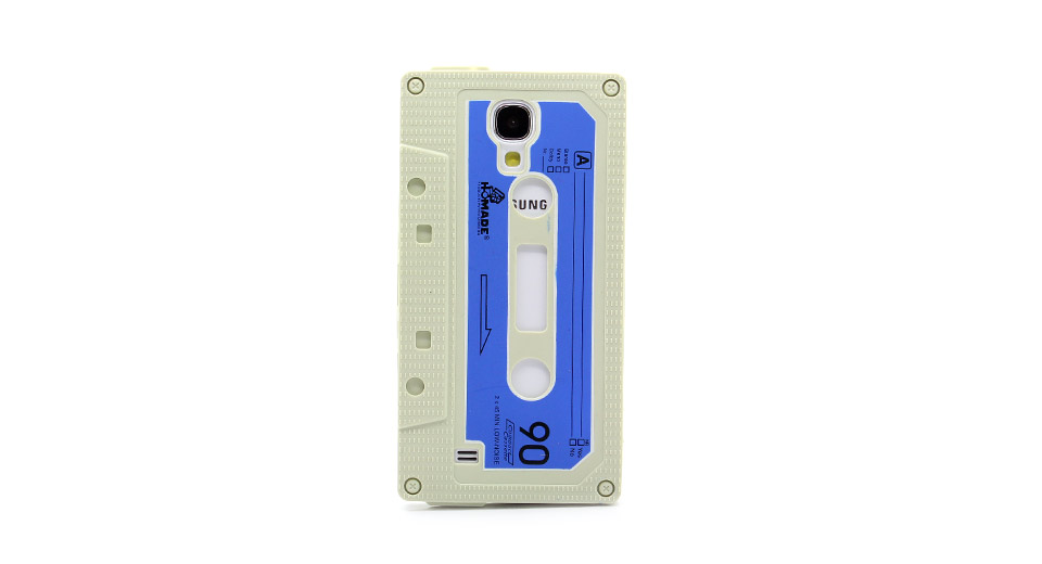 Retro Cassette Tape Style Protective Silicone Back Case for Samsung S4 i9500 Beige