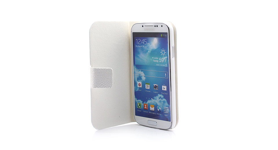 Protective PU Leather Flip-Open Case w/ Magnetic Button for Samsung S4 / i9500 (White)