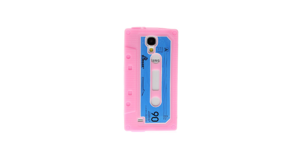 Retro Cassette Tape Style Protective Silicone Back Case for Samsung S4 i9500 Pink
