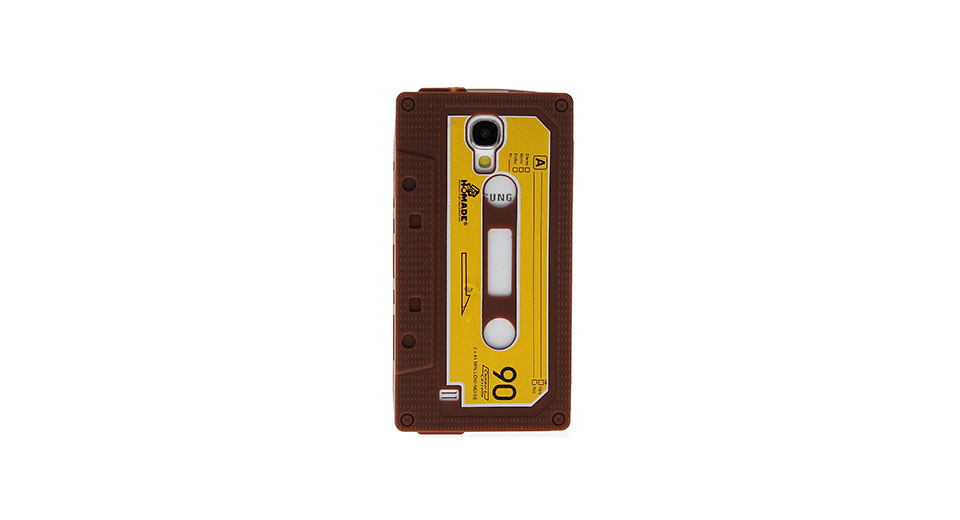 Retro Cassette Tape Style Protective Silicone Back Case for Samsung S4 i9500 Brown
