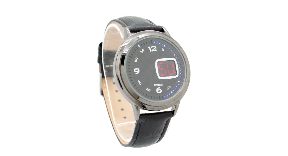 HZ2021 Leather Band Touch Screen LED Digital Wrist Watch