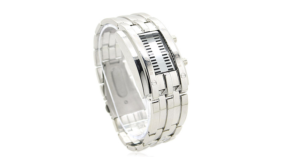 HZ-338 Stainless Steel Band LED Men's Digital Wrist Watch (Large)
