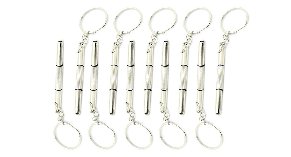 3-in-1 Stainless Steel Screwdriver w/ Keyring (10-Pack)
