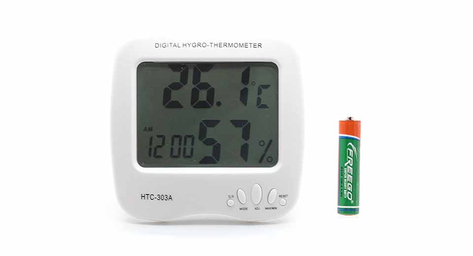 HTC-303A 3.8 LCD Indoor Digital Thermo-hygrometer w/ Clock