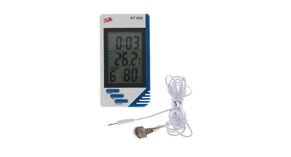 KT908 2.8 LED Indoor / Outdoor Digital Thermo-hygrometer w/ Clock