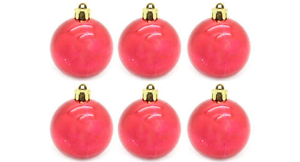 """Image of 4"""" Festive Christmas Tree Ornament Hanging Ball (6-Pack)"""
