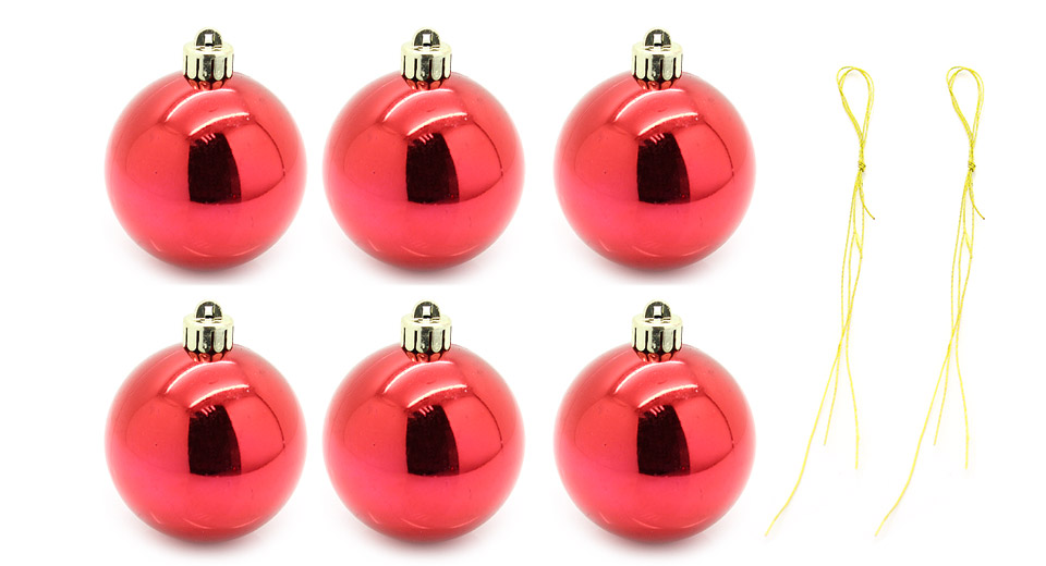 """Image of 6"""" Festive Christmas Tree Ornament Hanging Ball (6-Piece Pack)"""