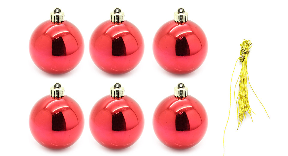 "8"" Festive Christmas Tree Ornament Hanging Ball (6-Piece Pack)"