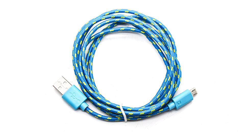 Micro-USB Male USB Male Braided Data Sync / Charging Cable Micro-USB USB M-M, 200cm, Blue