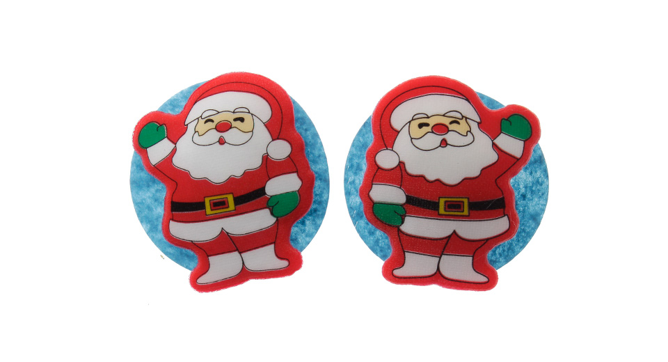 Image of Battery Powered Christmas Santa Clsus Style LED Brooches (Pair)