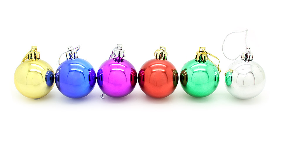 Image of 4cm Festive Christmas Tree Ornament Hanging Ball (6-Pack)