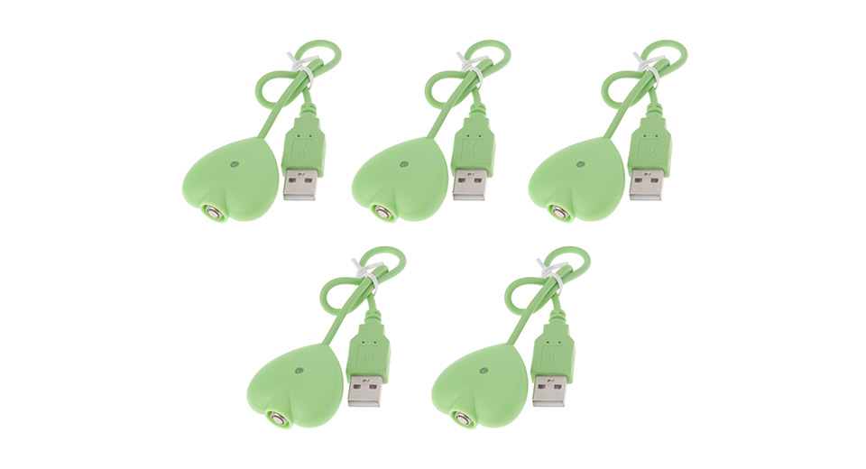 Heart Shaped USB Charger for eGo E-Cigarette Batteries (5-Pack)