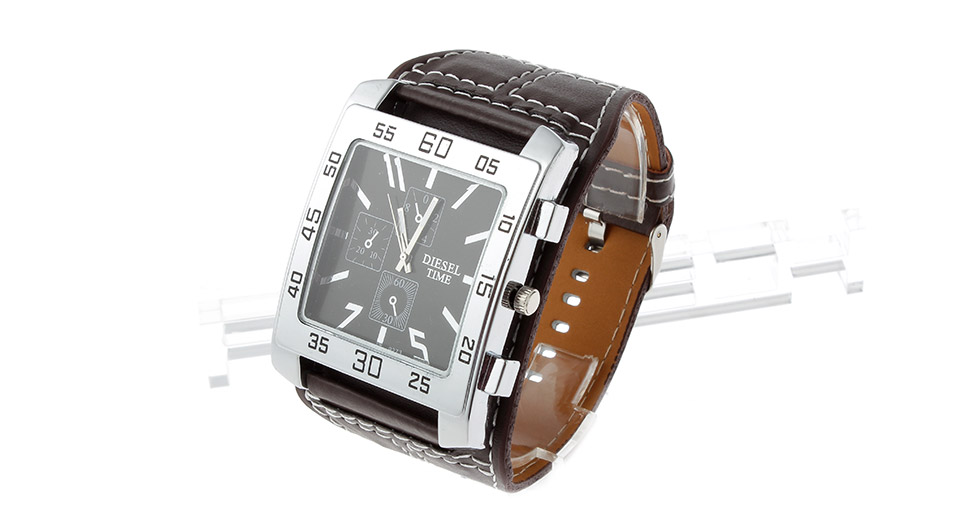 Image of Men's Leather Band Square Dial Analog Quartz Wrist Watch