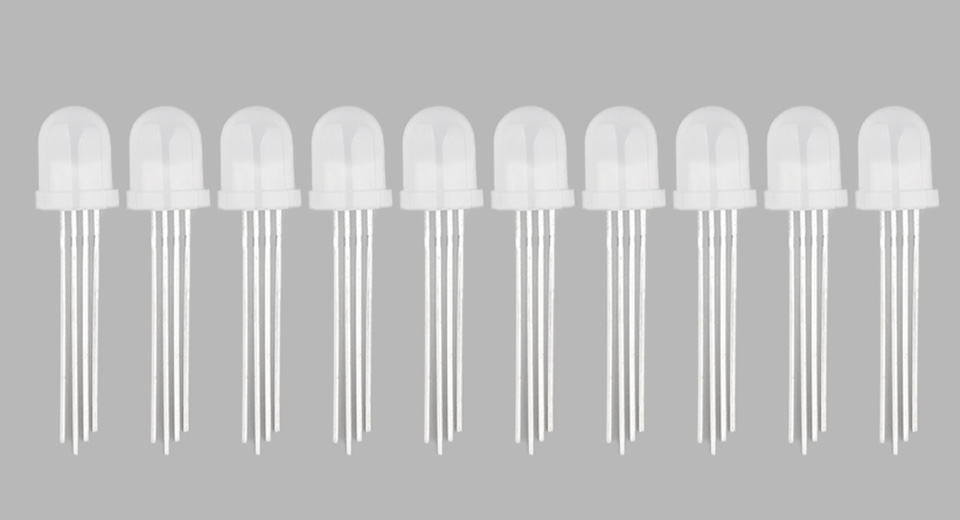 8mm Round Head 4 PIN RGB LED Light Emitting Diodes (10-Pack)