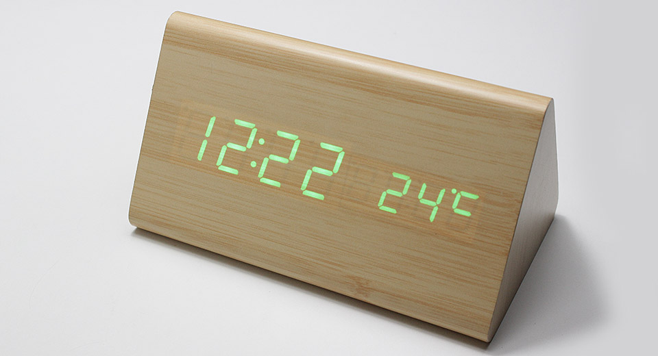 """SLT-6035B 4.5"""" LCD Voice Control Electronic Desktop Clock w/ Thermometer Triangle, Light Brown, Green Character"""