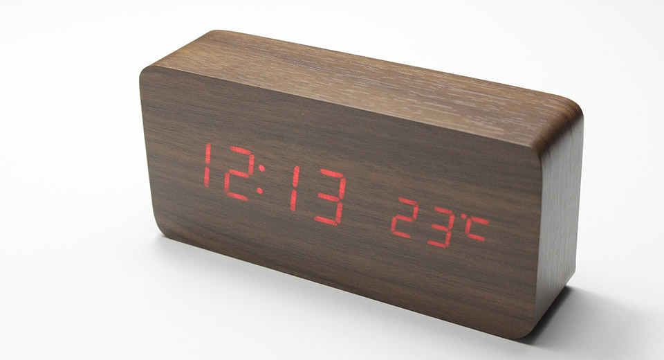 "SLT-6035 4.5"" LCD Voice Control Electronic Desktop Clock w/ Thermometer Rectangle, Brown, Red Character"