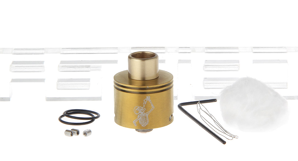 Freakshow Mini Styled RDA Rebuildable Dripping Atomizer, Mini, 22mm, SS, Gold (510 drip tip)