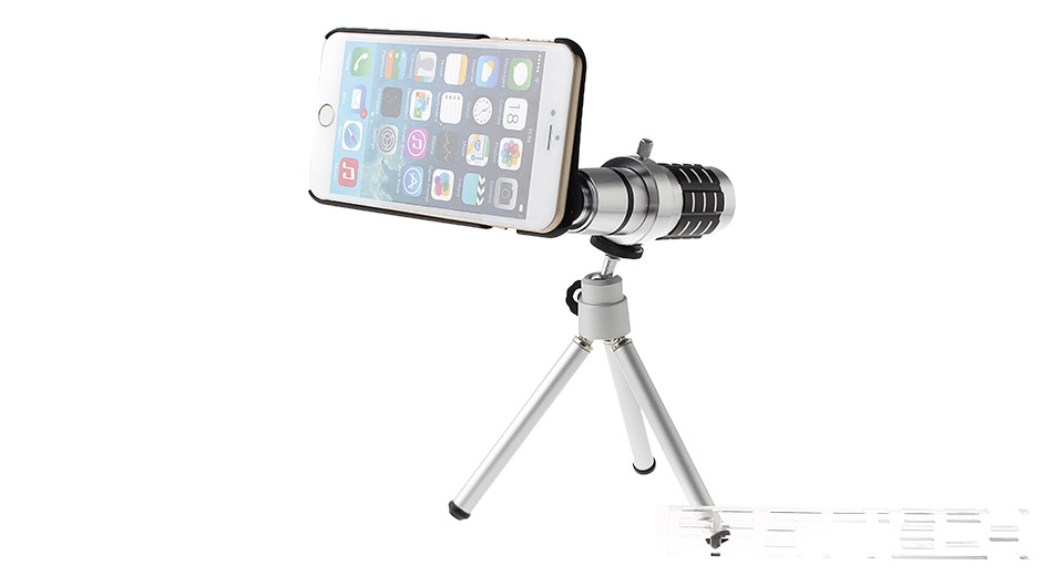 Image of 12X Mobile Phone Telephoto Lens w/ Tripod for iPhone 6 Plus
