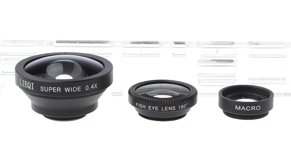 LIEQI LQ-003 0.4X Super Wide Angle + 180 Degree Fisheye + Macro Lens Set