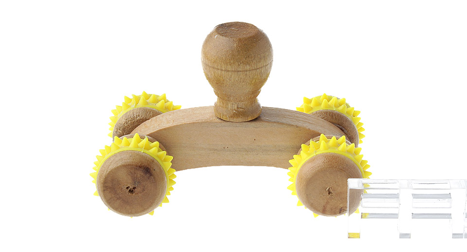 Wooden Handheld Mini Full Body Massager w/ 4 Wheels