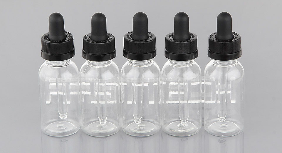 Empty PET Round Dropper Bottle for E-liquids (5-Pack)