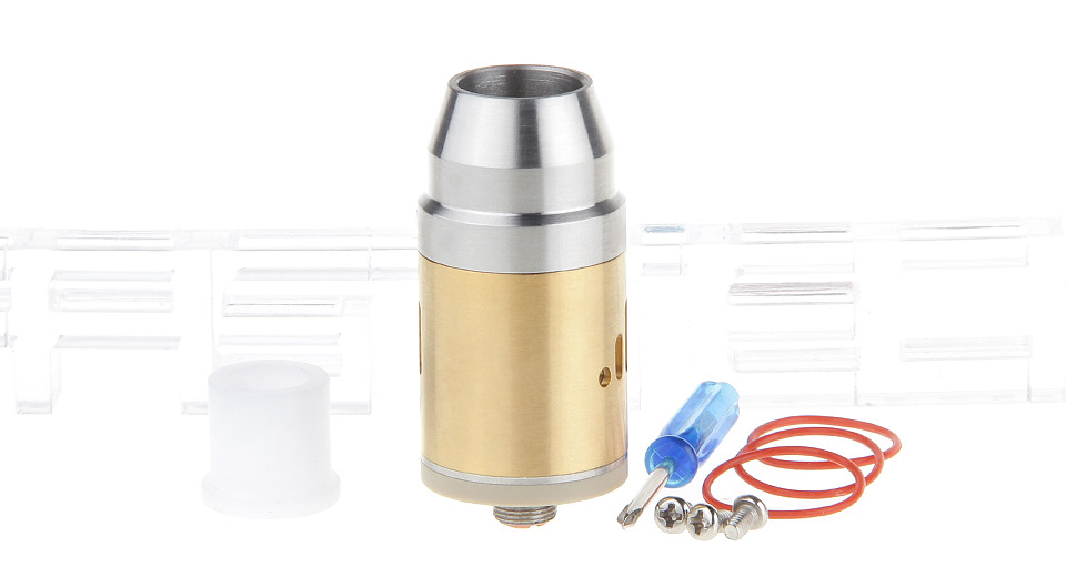 *SALE* Bullet Styled RDA Rebuildable Dripping Atomizer 22mm, SS, Silver (gold chamber)