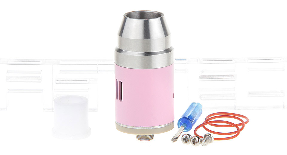 *SALE* Bullet Styled RDA Rebuildable Dripping Atomizer 22mm, SS, Silver (pink chamber)